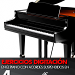 Ejercicios de digitación en el piano con acordes suspendidos en 4ª